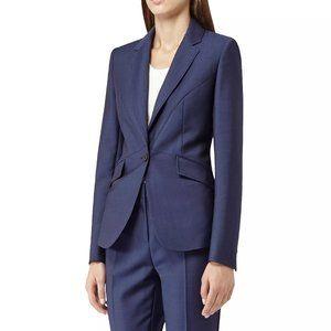 Reiss Blue Aisha Fitted Blazer Wool Mohair 4